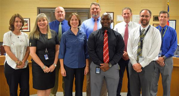 Watauga County Schools Principals were recognized for Principal Appreciation Month. Pictured are Cove Creek's Kelly Walker,  Parkway's Patty Buckner, Blowing Rock's Patrick Sukow, Hardin Park's Mary Smalling, Mabel's Mark Hagaman, Valle Crucis' Preston Clarke,   Watauga High School's Chris Blanton, Bethel's Brian Bettis and Green Valley's Phil Norman.