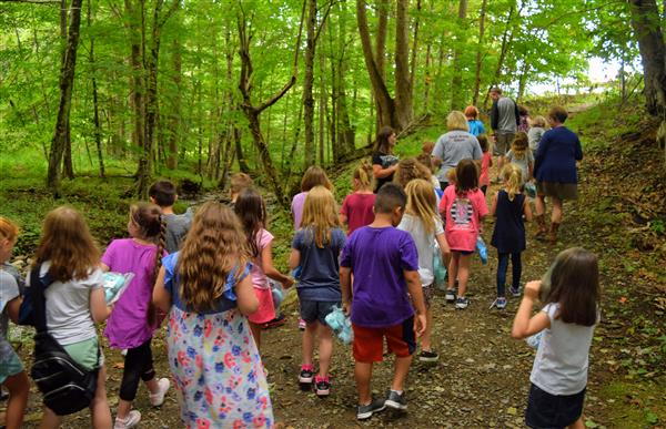 PHOTO 0089: Cove Creek Second-Graders make the trek out of the woods and back to school.