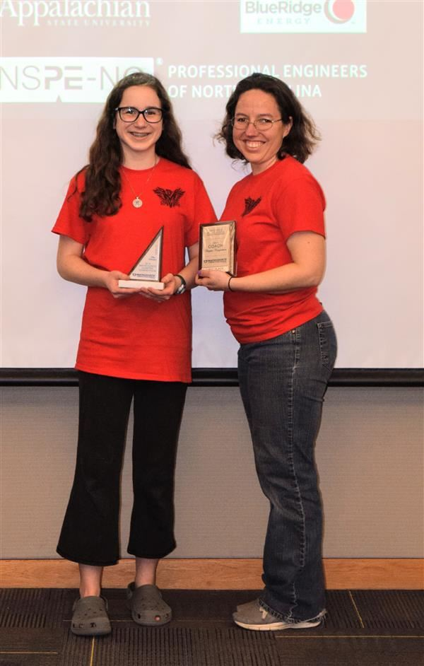 Pictured are coach Amber Mellon and Mathcounts overall individual winner, Hardin Park's Aria Arnholt.