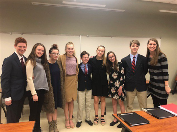 Valle Crucis mock trial team poses for a photo after the contest.