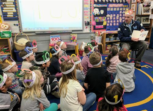 Scott Elliott reads to a Parkway Kindergarten Class